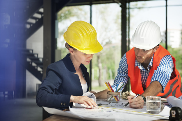 Woman engineer at site construction